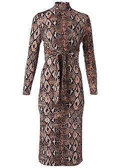 plus size python print bodycon dress