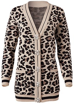 plus size leopard cardigan