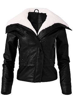 plus size faux fur trim moto jacket