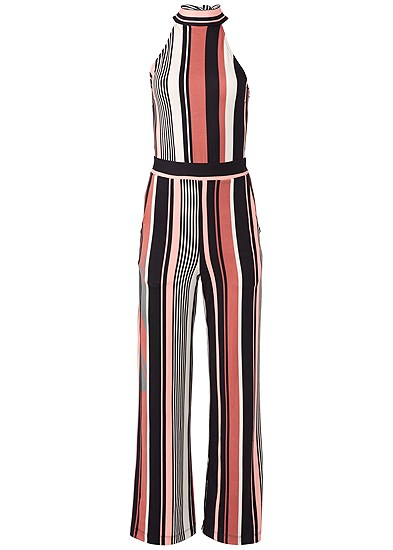 Plus Size Stripe High Neck Jumpsuit