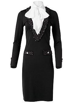 plus size twofer trim detail dress
