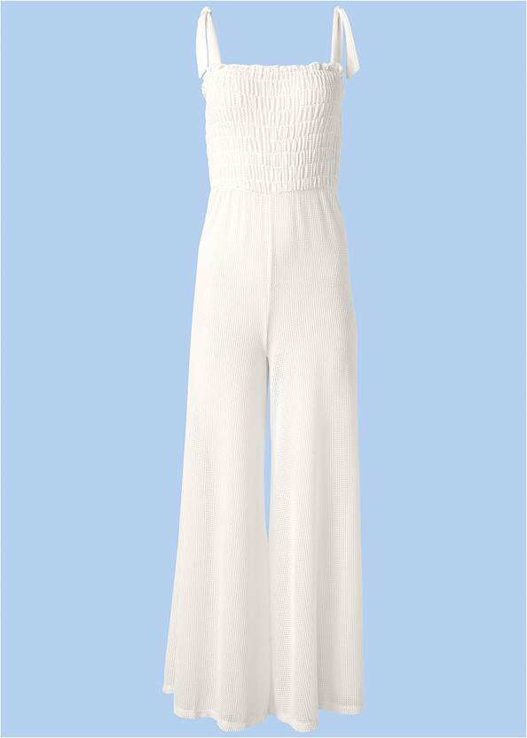 Ghost with background  view Smocked Cover-Up Jumpsuit