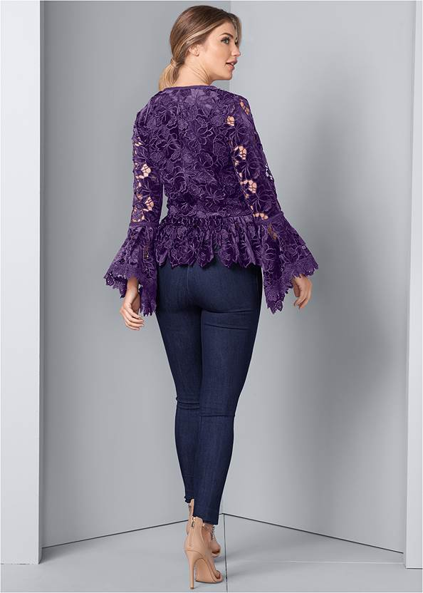 Back View Velvet Lace Bell Sleeve Top