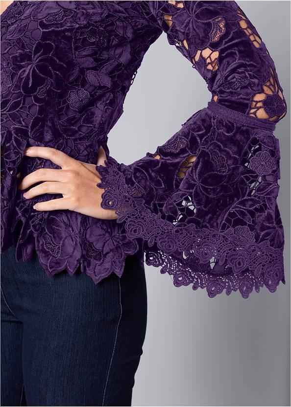Alternate View Velvet Lace Bell Sleeve Top