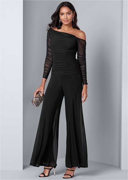 MESH DETAIL JUMPSUIT,FULL FIGURE STRAPLESS BRA,EMBELLISHED STRAPPY HEEL,BEADED MINAUDIERE