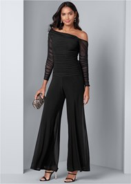 Front View Mesh Detail Jumpsuit