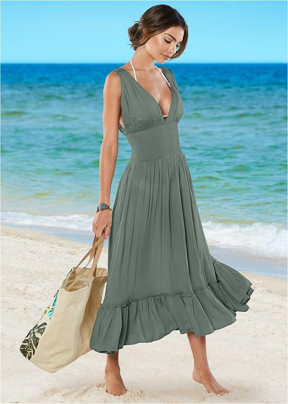 Plunge Cover-Up Midi Dress,Triangle String Bikini Top,Scoop Front Bikini Bottom