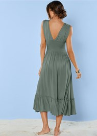 Back View Plunge Cover-Up Midi Dress