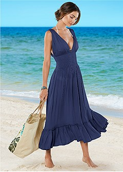 plunge cover-up midi dress