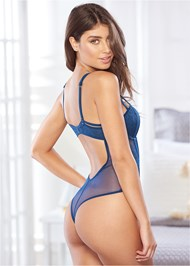 Cropped back view Thong Bodysuit With Cups