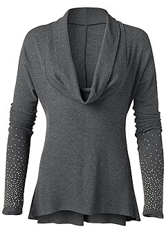 plus size embellished cowl neck top