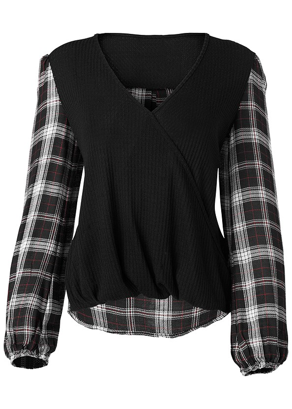 Plaid Surplice Top,Ripped Bum Lifter Jeans