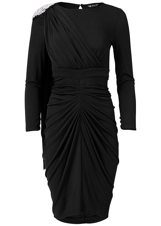 DRAPE DETAIL BODYCON DRESS,EMBELLISHED MULES