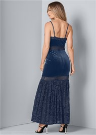 Back View Velvet And Lace Dress