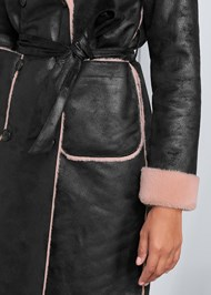 Alternate View Faux Leather Midi Coat