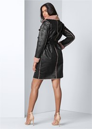 Back View Faux Leather Midi Coat