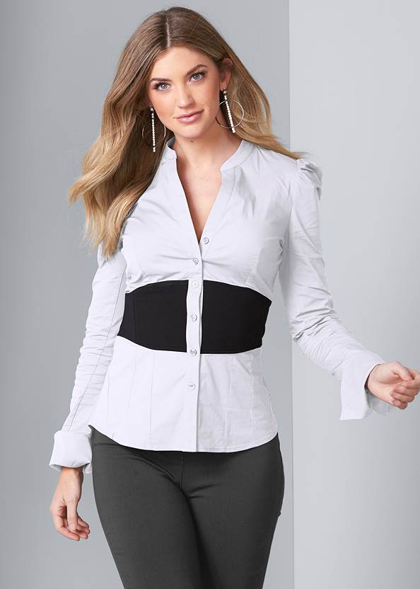 Color Block Blouse,Mid Rise Slimming Stretch Jeggings