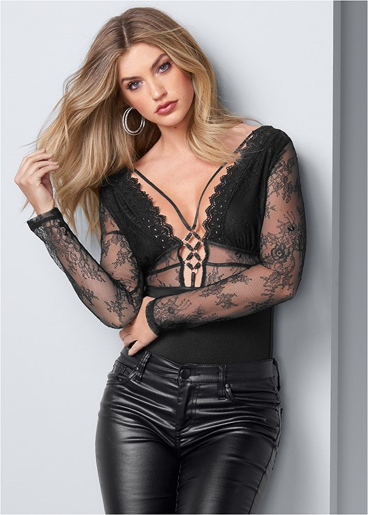 STRAPPY LACE BODYSUIT,FAUX LEATHER PANTS,3 PK OF PETALS,EMBELLISHED STRAPPY HEEL,RHINESTONE DETAIL HOOPS