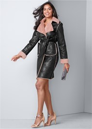 Front View Faux Leather Midi Coat