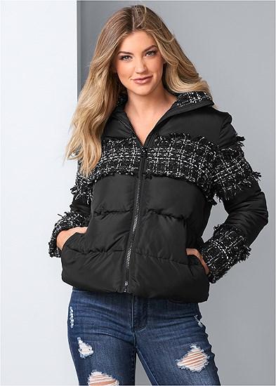 plaid detail puffer jacket