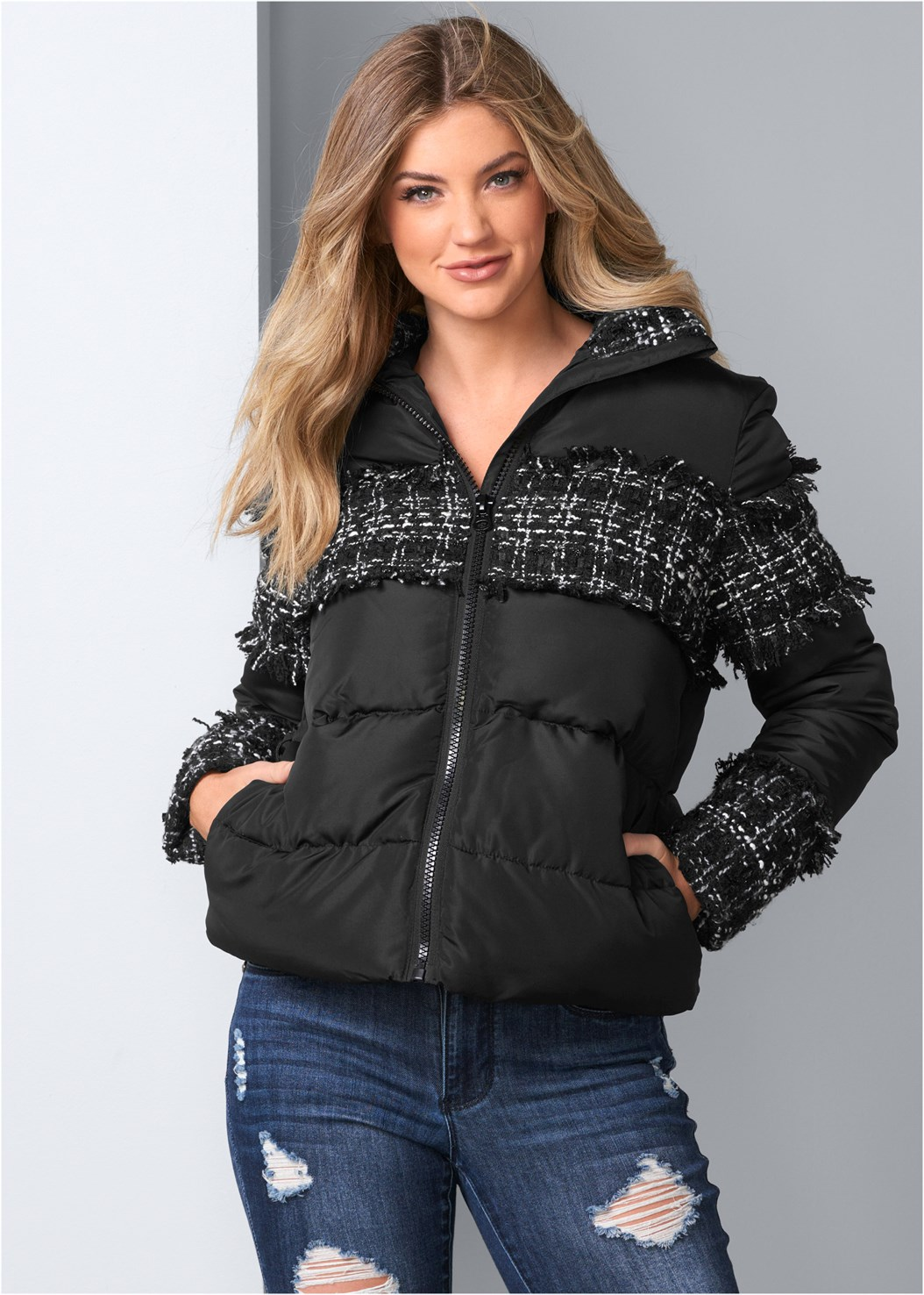 Plaid Detail Puffer Jacket,Ripped Bum Lifter Jeans