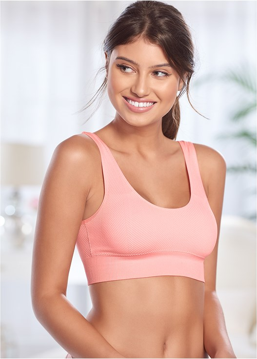 RIBBED KNIT SPORTS BRA 2 PK