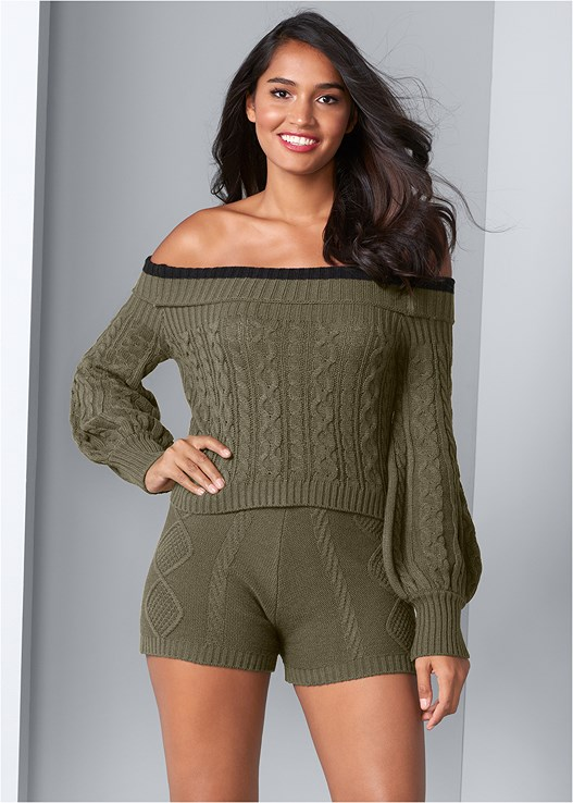 OFF THE SHOULDER SWEATER,SWEATER KNIT SHORTS,CUT OUT DETAIL BOOTS