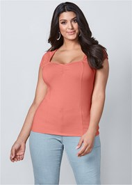Cropped Front View Cap Sleeve Basic Top