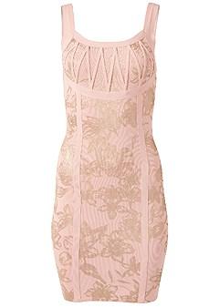 plus size foil print bandage dress