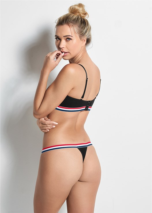 ATHLETIC STRIPE THONG,KEYHOLE STRIPE BRALETTE,ATHLETIC STRIPE BRALETTE,ATHLETIC STRIPE HIPSTER