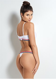athletic stripe thong