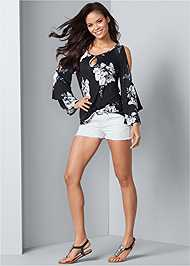 Alternate View Floral Tiered Sleeve Top