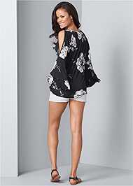 Back View Floral Tiered Sleeve Top
