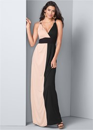 Front View Color Block Maxi Dress