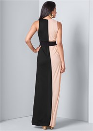 Back View Color Block Maxi Dress