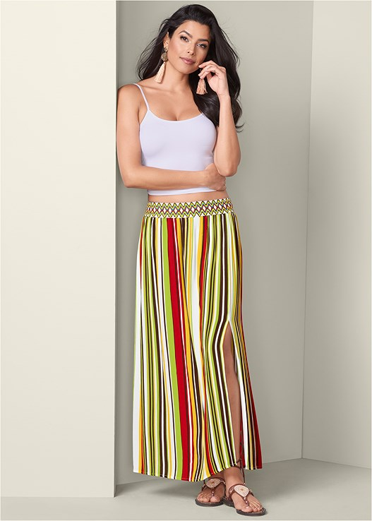 STRIPE PRINT MAXI SKIRT,SEAMLESS CAMI,LACE UP GLADIATOR SANDALS,CIRCLE FRINGE EARRINGS,EMBROIDERY DETAIL TOTE