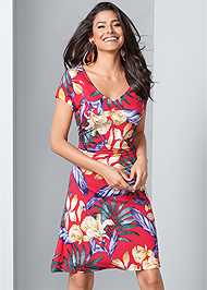 Detail  view Floral A-Line Midi Dress
