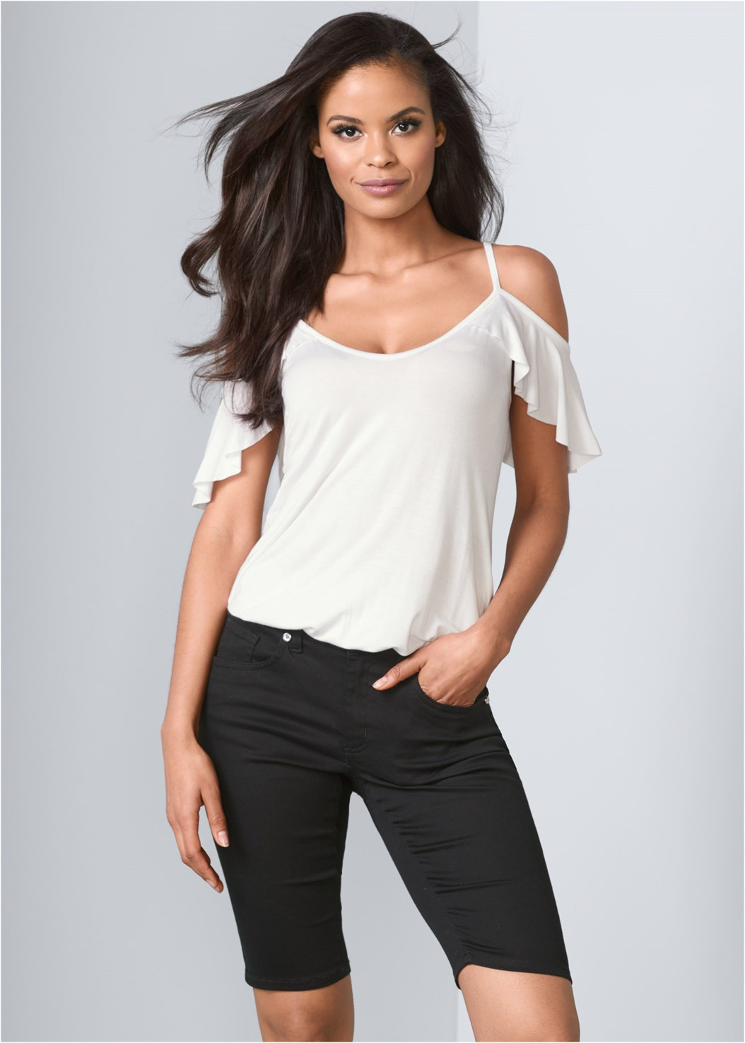 Bermuda Shorts,Ruffle Cold Shoulder Top