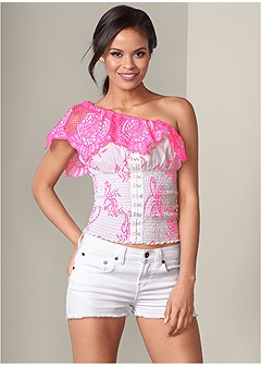lace one shoulder top
