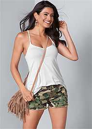 Front View Frayed Cut Off Jean Shorts