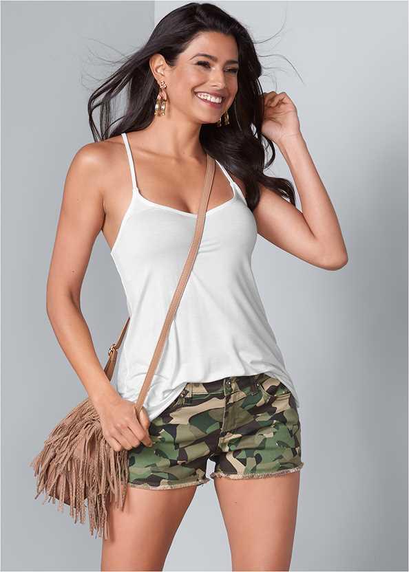 Frayed Cut Off Jean Shorts,Color Mini Jean Skirt,Back Detail Top,Steve Madden B Corina