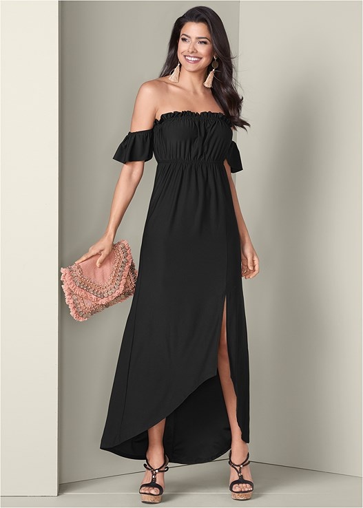 OFF THE SHOULDER MAXI DRESS,BRAIDED DETAIL WEDGES,CIRCLE FRINGE EARRINGS,COIN EMBELLISHED HANDBAG