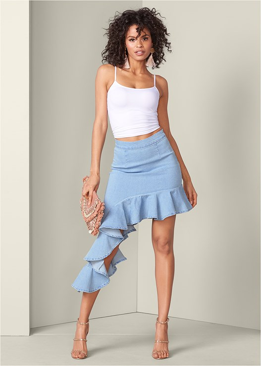 RUFFLE JEAN SKIRT,SEAMLESS CAMI,STUDDED STRAPPY HEELS,COIN EMBELLISHED HANDBAG,CIRCLE FRINGE EARRINGS