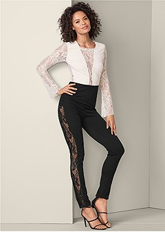 sheer lace detail jumpsuit