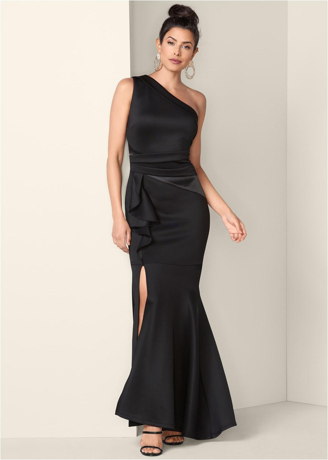 One Shoulder Long Dress,High Heel Strappy Sandals,Lucite Detail Heels