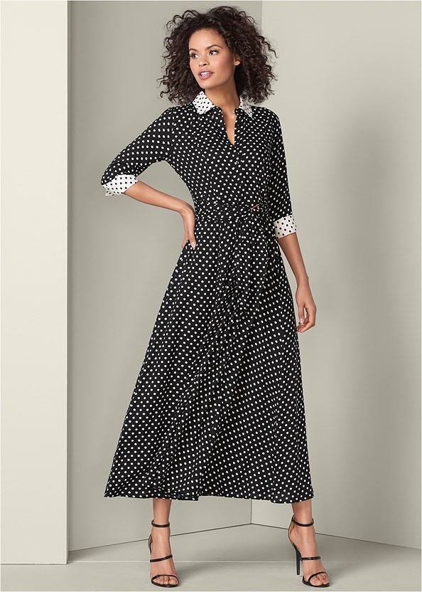 Maxi Shirt Dress,High Heel Strappy Sandals