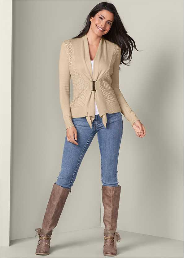 Buckle Front Cardigan,Basic Cami Two Pack,Mid Rise Color Skinny Jeans,Embellished Western Boots,Cut Out Detail Boots,Stud Detail Scarf