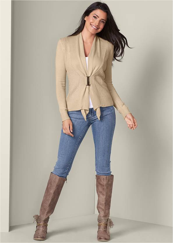 Buckle Front Cardigan,Basic Cami Two Pack,Mid Rise Color Skinny Jeans,Embellished Western Boots,Stud Detail Scarf