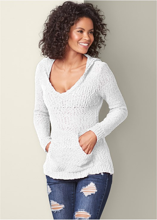 COZY TEXTURED SWEATER,DISTRESSED BUM LIFTER,WRAP STITCH DETAIL BOOTIES