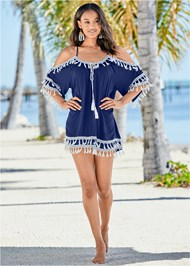 Front view Boho Tassel Tunic Cover-Up